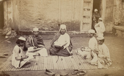 A pundit and his pupils studying Sanskrit, Agra